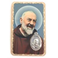 Carte avec médaille Saint Padre Pio