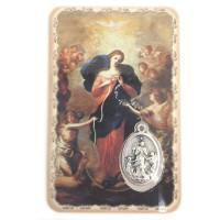 Carte avec médaille Marie qui défait les nœuds