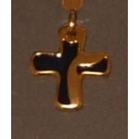 Croix métal doré / bleue