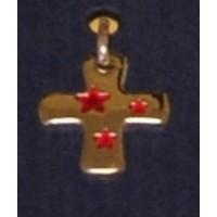 Croix métal argenté / étoiles