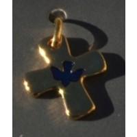 Croix métal doré / colombe bleue
