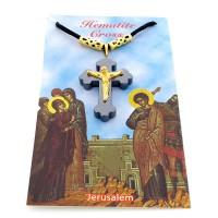 Croix en hématite sur cordon