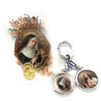 Porte-clés et carte-médaille Sainte Rita