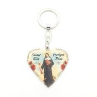 Porte-clés forme cœur Sainte Rita